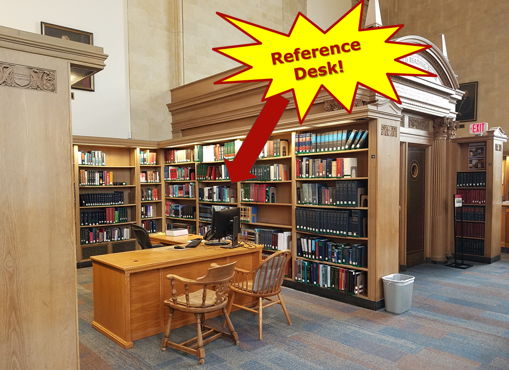The reference desk is located in the Gould Reading Room.
